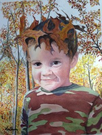 My watercolor of Grandson Tyler. King of the Forest!